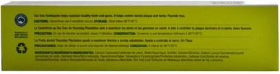 حمام، الجمال، معجون أسنان Natures Plus, Thursday Plantation, Tea Tree Toothpaste, Fluoride Free, 3.9 oz (110 g)