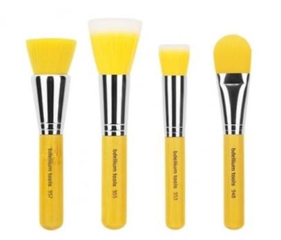 Bdellium Tools, Yellow Bambu Series, Foundation, 4 Piece Brush Set ,حمام، الجمال، هدية مجموعات، مستحضرات التجميل هدية مجموعات، أدوات ماكياج، فرش ماكياج