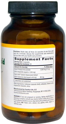 الجمال، مكافحة الشيخوخة، حمض الهيالورونيك Country Life, Bio-Active Hyaluronic Acid Complex, 90 Capsules