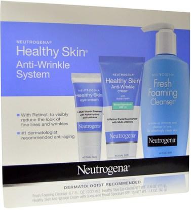 الجمال، كريمات العين، العناية بالوجه، نوع البشرة مكافحة الشيخوخة الجلد Neutrogena, Healthy Skin Anti-Wrinkle System, 3 Piece Set