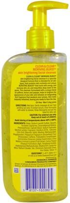 الجمال، العناية بالوجه، منظفات الوجه Clean & Clear, Morning Burst, Skin Brightening Facial Cleanser, 8 fl oz (240 ml)
