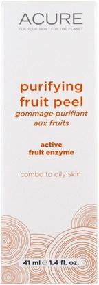 الجمال، أقنعة الوجه، حب الشباب، أقنعة عيب Acure Organics, Purifying Fruit Peel, 1.4 fl oz (41 ml)