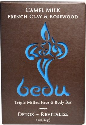 One with Nature, Triple Milled Face & Body Bar, Camel Milk French Clay & Rosewood, 4 oz (113 g) ,حمام، الجمال، الصابون