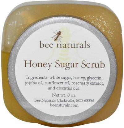 Bee Naturals, Honey Sugar Scrub, 8 oz ,حمام، الجمال، بدن، الدعك، أصلي، إجتماع للعمل، ناتورال