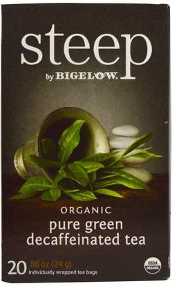 Bigelow, Steep, Organic Pure Green Decaffeinated Tea, 20 Tea Bags, 0.86 oz (24 g) ,المكملات الغذائية، مضادات الأكسدة، الشاي الأخضر