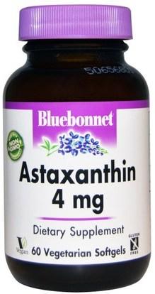 Bluebonnet Nutrition, Astaxanthin, 4 mg, 60 Veggie Softgels ,المكملات الغذائية، مضادات الأكسدة، أستازانتين