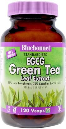 Bluebonnet Nutrition, EGCG Green Tea Leaf Extract, 120 Veggie Caps ,المكملات الغذائية، مضادات الأكسدة، الشاي الأخضر، الأعشاب، إغغ