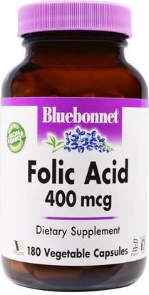 Bluebonnet Nutrition, Folic Acid, 400 mcg, 180 Veggie Caps ,الفيتامينات، حمض الفوليك