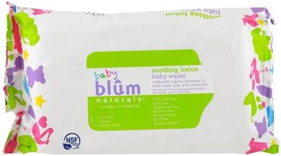 Blum Naturals, Baby, Soothing Lotion, Baby Wipes, Fragrance Free, 72 Wipes ,صحة الطفل، حفاضات، مناديل الطفل
