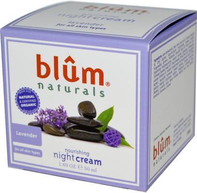 Blum Naturals, Nourishing Night Cream, Lavender, 1.69 oz (50 ml) ,الصحة، الجلد، الليل الكريمات، الجمال، العناية بالوجه