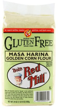 Bobs Red Mill, Masa Harina Golden Corn Flour, Gluten Free, 24 oz (680 g) ,الغذاء والدقيق والمزيج