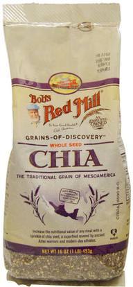 Bobs Red Mill, Whole Seed Chia, 16 oz (453 g) ,الغذاء، بذور المكسرات الحبوب، إفا أوميجا 3 6 9 (إيبا دا)، بذور شيا