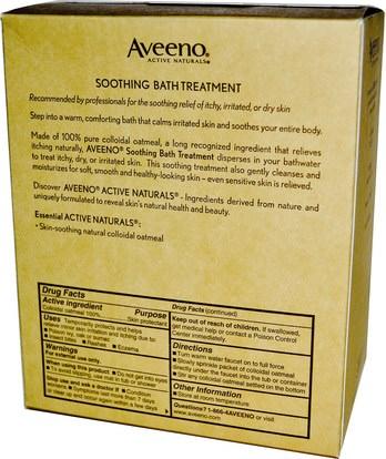 الجسم، العلاج الأكزيما Aveeno, Active Naturals, Soothing Bath Treatment, Fragrance Free, 8 Single Use Bath Packets ,1.5 oz (42 g) Each.