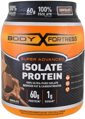 Body Fortress, Super Advanced 100% Protein Isolate, Chocolate, 1.5 lbs (680 g) ,المكملات الغذائية، بروتين مصل اللبن، والرياضة
