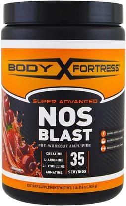 Body Fortress, Super Advanced NOS Blast, Fruit Punch, 1 lbs (454 g) ,والصحة، والطاقة، والمكملات، والأحماض الأمينية، وتركيبات الأحماض الأمينية