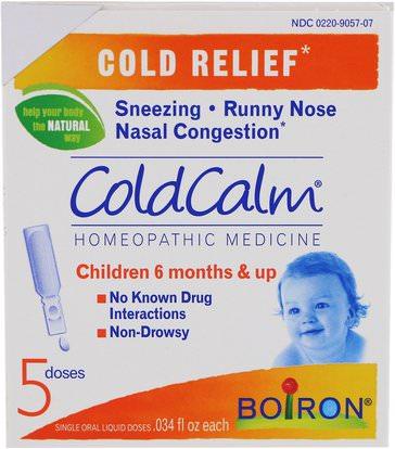 Boiron, ColdCalm, 5 Single Oral Liquid Doses.034 fl oz Each ,والمكملات الغذائية، المثلية
