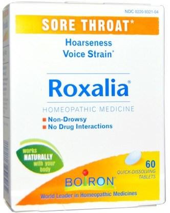 Boiron, Roxalia, Sore Throat, 60 Quick-Dissolving Tablets ,المكملات الغذائية، المثلية، الانفلونزا الباردة والفيروسية، رذاذ الرعاية الحلق