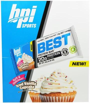 BPI Sports, Best Protein Bars, Iced Vanilla Cupcake, 12 Bars, 2.29 oz (65 g) Each ,وفقدان الوزن، والنظام الغذائي، والرياضة