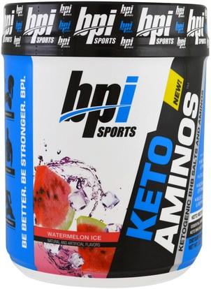 BPI Sports, Keto Aminos, Ketoogenic BHB Salts And Aminos, Watermelon Ice, 1.32 lbs (600 g) ,الغذاء، كيتو ودية، الأحماض الأمينية، بكا (متفرعة سلسلة الأحماض الأمينية)