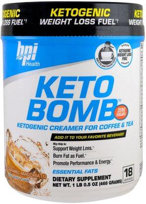 BPI Sports, Keto Bomb, Ketogenic Creamer For Coffee & Tea, Caramel Macchiato, 1 lb 0.5 oz (468 g) ,الغذاء، القهوة الشاي والمشروبات، كيتو ودية