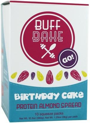 Buff Bake, Birthday Cake, Protein Almond Spread, 10 Squeeze Packs, 1.25 oz (36 g) Each ,الطعام، المربيات، سبرياد