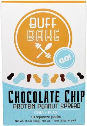 Buff Bake, Chocolate Chip Protein Peanut Spread, Chia + Flax, 10 Squeeze Packs, 1.15 oz (32 g) Each ,والمكملات، وحزم خدمة واحدة، والمربيات انتشار