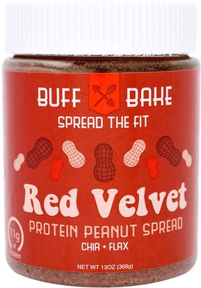 Buff Bake, Red Velvet Protein Peanut Spread, 13 oz (368 g) ,الطعام، زبدة الفول السوداني