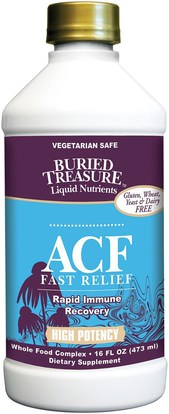 Buried Treasure, Liquid Nutrients, ACF Fast Relief, Immune Support, 16 fl oz (473 ml) ,والصحة، والانفلونزا الباردة والفيروسية، ونظام المناعة، ودفن الكنز وظيفة محددة والموسمية
