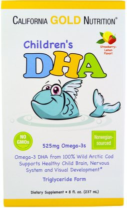 California Gold Nutrition, CGN, Childrens DHA, Strawberry-Lemon Flavor, 525 mg Omega-3s, 8 fl oz (237 ml) ,المكملات الغذائية، إيفا أوميجا 3 6 9 (إيبا دا)، دا، كغن دا، كغن الامهات والرضع