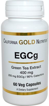California Gold Nutrition, CGN, EGCg, Green Tea Extract, 400 mg, 60 Veggie Caps ,الأعشاب، إغغ