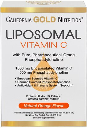 California Gold Nutrition, CGN, Liposomal Vitamin C, with Phosphatidylcholine, Natural Orange Flavor, 30 Individually-Sealed Packets, 0.169 fl oz (5 ml) Each ,الفيتامينات، فيتامين ج، فيتامين ج الليبوسومات
