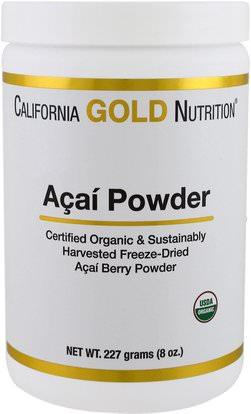California Gold Nutrition, CGN, Organic Acai Powder, 8 oz (227 g) ,المكملات الغذائية، مقتطفات الفاكهة، سوبر الفواكه، مسحوق أكاي