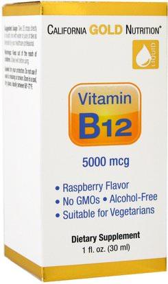 California Gold Nutrition, CGN, Vitamin B12 Liquid, Alcohol Free, Raspberry, 5000 mcg, 1 fl oz (30 ml) ,الفيتامينات، وفيتامين ب، وفيتامين ب 12، وفيتامين ب 12 - السائل