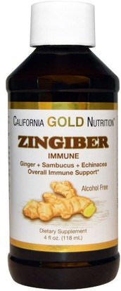 California Gold Nutrition, CGN, Zingiber Immune, Ginger + Sambucus + Echinacea, Alcohol Free, 4 fl oz (118 ml) ,كغن نظام المناعة، والصحة، ونظام المناعة