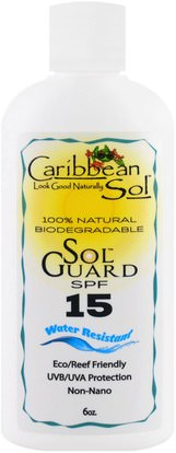 Caribbean Solutions, Sol Guard SPF 15, Water Resistant, 6 oz ,حمام، الجمال، واقية من الشمس، سف 05-25