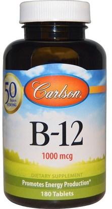 Carlson Labs, B-12, 1000 mcg, 180 Tablets ,الفيتامينات، فيتامين b12