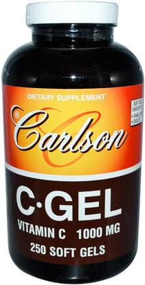 Carlson Labs, CGel, Vitamin C, 1,000 mg, 250 Soft Gels ,الفيتامينات، وفيتامين ج حمض الاسكوربيك