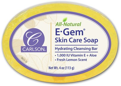 Carlson Labs, E-Gem Skin Care Soap, Lemon Scent, 4 oz (113 g) ,حمام، الجمال، الصابون