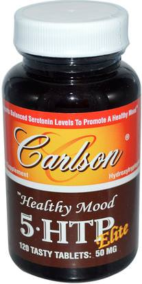 Carlson Labs, Healthy Mood, 5 HTP Elite, 50 mg, 120 Tasty Tablets ,المكملات الغذائية، 5-هتب
