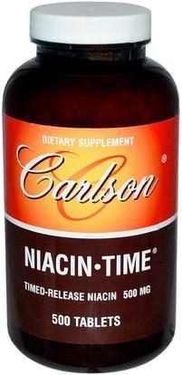 Carlson Labs, Niacin-Time, 500 mg, 500 Tablets ,الفيتامينات، فيتامين ب، فيتامين b3، النياسين دافق مجانا