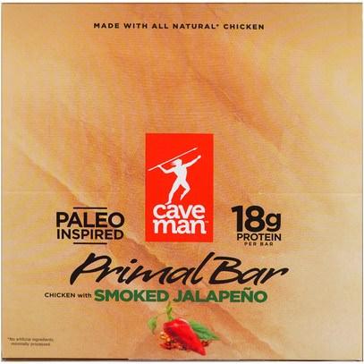 Caveman Foods, Primal Bar, Chicken with Smoked Jalapeno, 12 Bars, 1.5 oz (42 g) Each ,والمكملات الغذائية، والحانات الغذائية، والوجبات الخفيفة