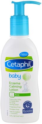 Cetaphil, Baby, Eczema Calming Lotion, 5 fl oz (147 ml) ,الصحة، الجلد، غسول الجسم