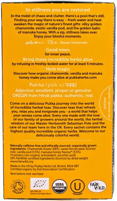 Herb-sa Pukka Herbs, Chamomile, Vanilla & Manuka Honey Tea, Caffeine Free, 20 Herbal Tea Sachets, 1.12 oz (32 g)