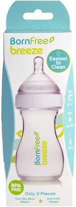 صحة الطفل، تغذية الطفل، زجاجات الطفل، أطفال الأطعمة Born Free, Breeze, Baby Bottle, Slow Flow, 0m+, 1 Bottle, 5 oz (147 ml)