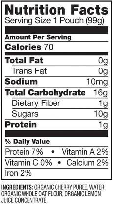 صحة الطفل، تغذية الطفل، الغذاء، أطفال الأطعمة Plum Organics, Organic Baby Food, Stage 1, Hello Morning, Cherries & Oats, 3.5 oz (99 g)