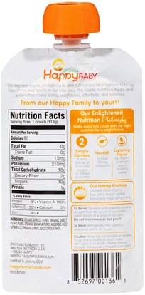 صحة الطفل، تغذية الطفل، الغذاء Nurture Inc. (Happy Baby), Organic Baby Food, Stage 2, 6+ Months, Apricots, Sweet Potato & Bananas, 4 oz (113 g)