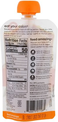 صحة الطفل، تغذية الطفل، الغذاء Plum Organics, Stage 2, Eat Your Colors, Orange, Sweet Potato, Apricot, Papaya & Cardamon, 3.5 oz (99 g)