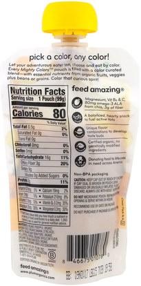 صحة الطفل، تغذية الطفل، الغذاء Plum Organics, Tots, Mighty Colors, Yellow, Pineapple, Banana, Navy Bean, Yellow Bell Pepper & Oat, 3.5 oz (99 g)