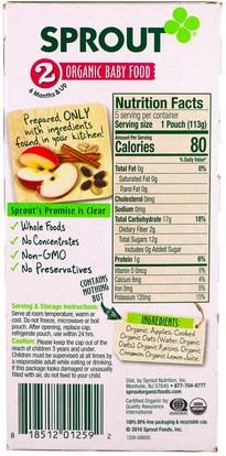 صحة الطفل، تغذية الطفل Sprout Organic, Baby Food, Stage 2, Apple, Oatmeal, Raisin with Cinnamon, 5 Pouches, 4 oz (113 g) Each