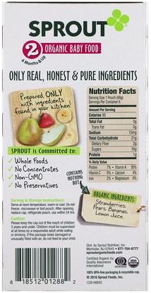 صحة الطفل، تغذية الطفل Sprout Organic, Baby Food, Stage 2, Strawberry, Pear, Banana, 6 Pouches, 3.5 oz (99 g) Each
